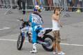 Alexey kolesnikov and announcer moscow july unidentified on city event sport of moscow passing in luzhniki motofreestile fmx place Stock Photo