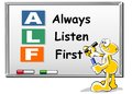 Alf acronym always listen first good advice for training counselling customer service selling or relationships handwriting with Royalty Free Stock Photography