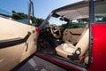 Alfa romeo interior classic car inside view on opened door Royalty Free Stock Photo