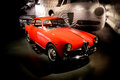 Alfa romeo's giulietta sprint at museo nazionale dell automobile a red romeo exposed with its design sketchs in the of turin Royalty Free Stock Images