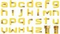 Alfabeto giallo del tubo flessibile di giardino Immagine Stock Libera da Diritti