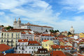Alfama district at the east of lisbon portugal monastery sao vicente de fora left and dome santa engracia right in Royalty Free Stock Photo