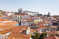 Alfama district at lisbon view of with the monastery of são vicente de fora and the baroque church of santa engrácia Royalty Free Stock Photography