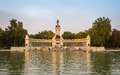 Alfonso xii monument in buen retiro park madrid lake with to on the background Royalty Free Stock Image