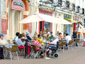 Alfresco cafe culture torquay devon on the harbor quayside at england uk Stock Photos