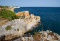 Algar seco in the algarve in portugal near carvoeiro with atlantic ocean Royalty Free Stock Photo