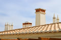 Algarve chimneys typical and tile rooftops of the southern region of portugal in the province Royalty Free Stock Photography