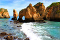 Algarve cliffs rocky on the coast of the atlantic ocean in lagos portugal Stock Photos