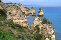 Algarve cliffs rocky on the coast of the atlantic ocean in lagos portugal Stock Image