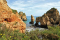 Algarve cliffs rocky on the coast of the atlantic ocean in lagos portugal Stock Photography