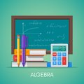 Algebra math science education concept vector poster in flat style design Royalty Free Stock Photo