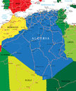 Algeria map highly detailed vector of with administrative regions main cities and roads Stock Image