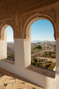 Alhambra arches of generalife palace in with garden view granada Royalty Free Stock Photo