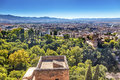 Alhambra Castle Tower Cityscape Granada Andalusia Spain Royalty Free Stock Photo