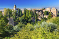 Alhambra Castle Towers Church Granada Andalusia Spain Royalty Free Stock Photo