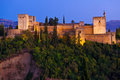 Alhambra de Granada panoramic at dusk Stock Image