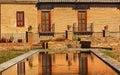 Alhambra garden pool reflection abstract granada andalusia spanien Arkivfoton