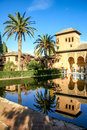 Alhambra gardens with pool and patio spain Royalty Free Stock Photos