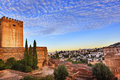 Alhambra morning sky granada cityscape churches andalusia spain castle walls Royalty Free Stock Photo