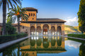 Alhambra patio with pool Royalty Free Stock Photo