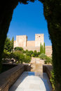 Alhambra red fortress showing medieval towers alcabazar fortress oldest part alhambra Royalty Free Stock Image