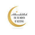 Alhamdulillah quote into golden crescent moon and star for Holy Month of Muslim Community, Ramadan Kareem celebration.