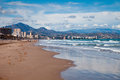 Alicante beach of valencian county south east spain mountains at background Royalty Free Stock Photos