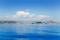 Alicante Denia view from blue calm sea Stock Images