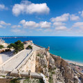 Alicante postiguet beach view from castle santa barbara of spain Royalty Free Stock Photos