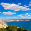 Alicante san juan beach view from castle santa barbara in spain Stock Photos