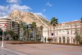Alicante spain cityscape of comunidad valenciana santa barbara castle in background Royalty Free Stock Photography