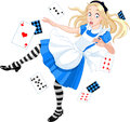 Alice falling down rabbit hole Royalty Free Stock Images
