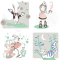 Alice s in wonderland vector illustration of adventures with a tea cup and stripes knee socks the white rabbit with clocks Stock Image