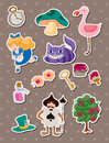 Alice in Wonderland stickers Stock Image