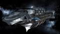 Alien battleship in deep space travel Royalty Free Stock Photo