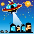 Alien cartoon attack the city Royalty Free Stock Photo