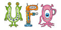 Alien cartoons creatures making the word ufo Royalty Free Stock Photo