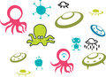 Alien cartoons vector set Royalty Free Stock Images