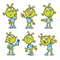 Alien character in various poses Royalty Free Stock Photo
