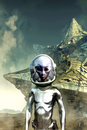 Alien colony d render science fiction illustration Stock Photo