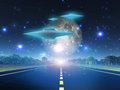 Alien craft on roadway Royalty Free Stock Photo