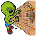 Alien and crop circle Stock Photo