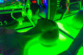 Alien decorations in laser tag room game Royalty Free Stock Photos