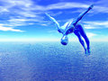 Alien diver over blue ocean an leaps a with cirrus clouds in the sky d Stock Photo