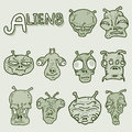 Alien face collection Royalty Free Stock Images