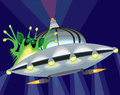 Alien in a Flying Saucer Stock Images