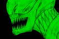Alien head glowing in the dark drawn on a laser tag game room wall Royalty Free Stock Photos
