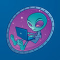 Alien with laptop computer Stock Images