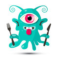 Alien - Monster or Bacillus Vector Illustration Royalty Free Stock Photo