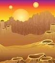 Alien planet landscape with three suns stone wall and craters Royalty Free Stock Image